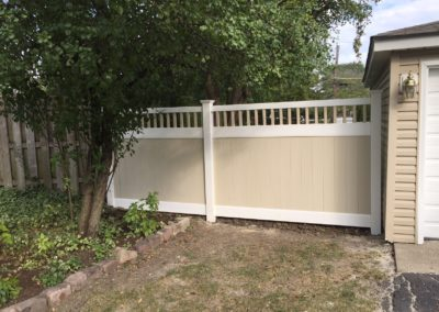 Two Toned PVC Vinyl Privacy Fence and Gate